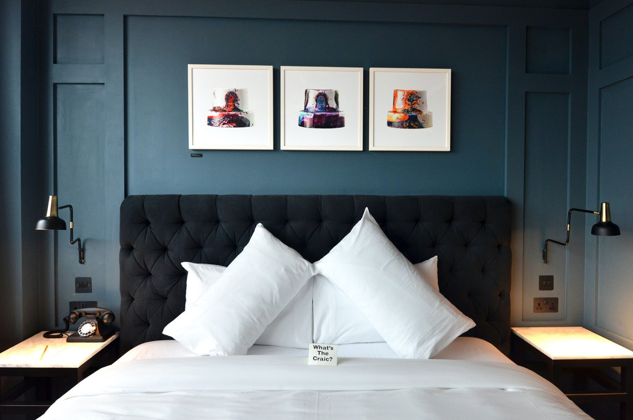 The-Dean-Supe-Room bed with cushions boutique hotels in dublin